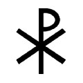 The labarum, often called the Chi-Rho, is a Christian symbol representing Christ.